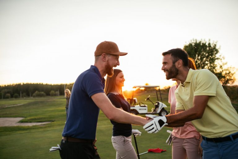 playing golf with friends
