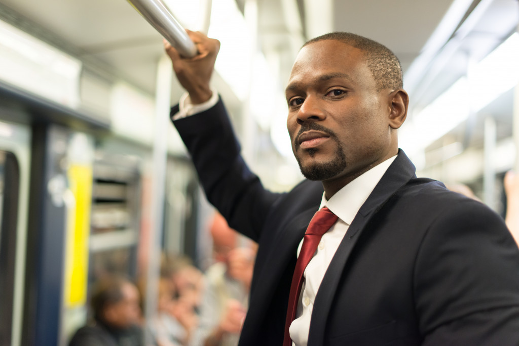 business man on the train